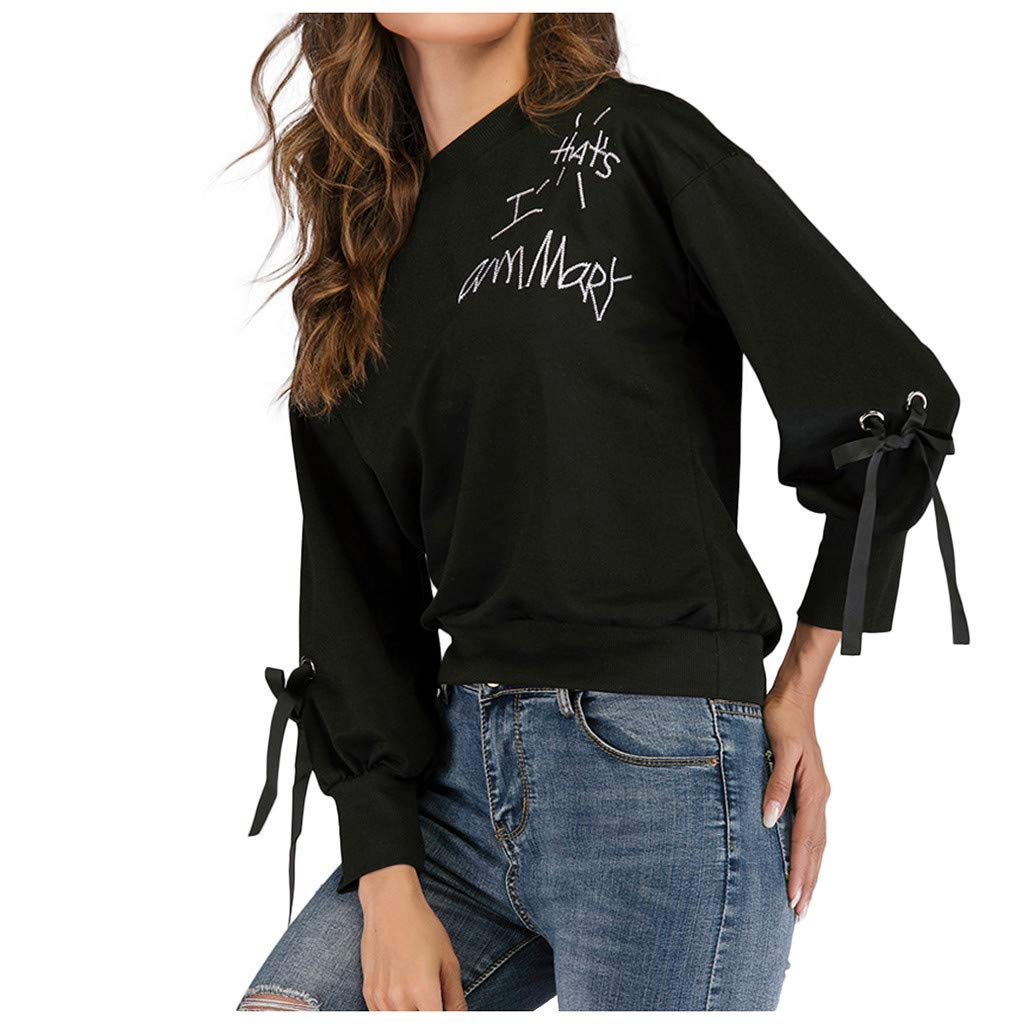 Badymin Women Fashion Letter Printed Pullovers Long Sleeves Loose Casual Top Blouse Black by Badymin