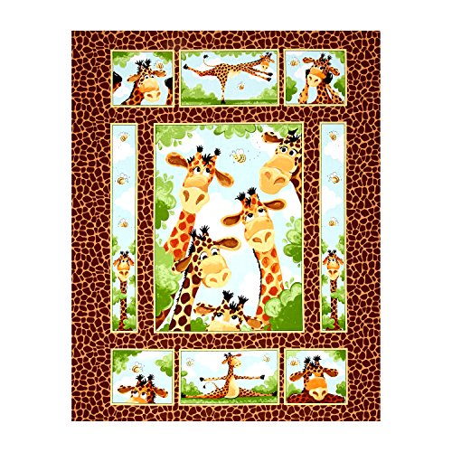 - Hamil Textiles 0490324 Susybee Zoe The Giraffe 35.5in Panel Brown,