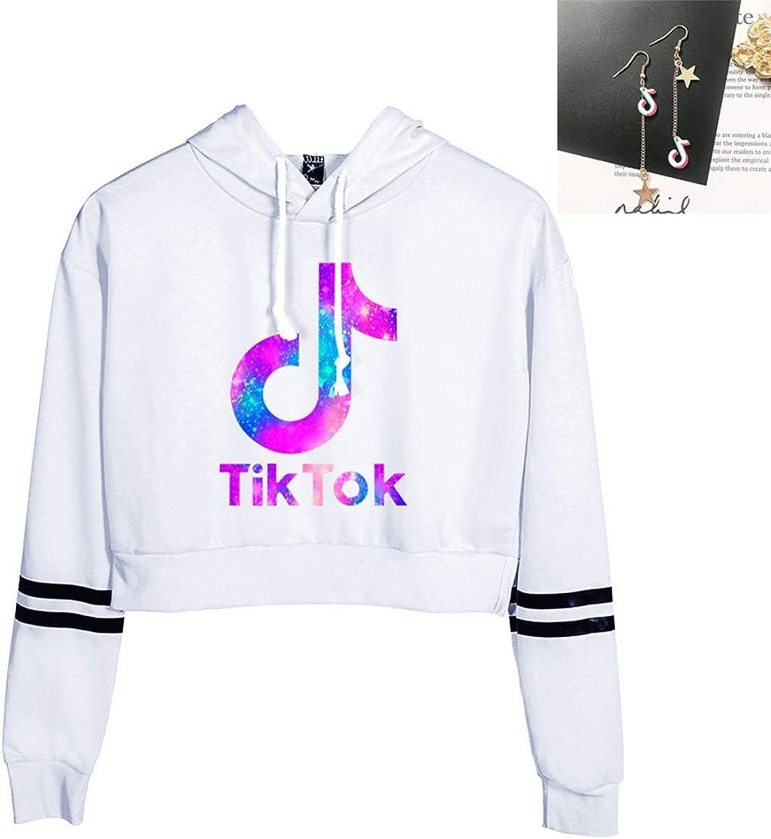 Womens Girls TIK TOK Top Hoodies Sweatshirt with 2 Piece Earrings Jewelry Pendant for Funs Black+Earring, X-Small