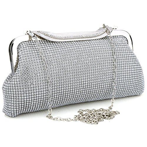 EROUGE Rhinestone Clutch Sequins Purse Handbag Clutch Purses for Women Evening (Silver)