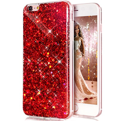 iPhone 6S Case,iPhone 6 Case,iPhone 6 6S Case,ikasus Luxury Sparkle 3D Bling Diamond Glitter Paillette Flexible Soft Rubber Gel TPU Protective Skin Silicone Case Cover for iPhone 6/6S 4.7,Red