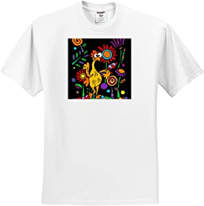3dRose Funny Cute Rubber Chicken in Colorful Flower Garden Abstract Art - T-Shirts (ts_325772_13)