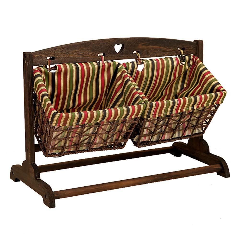 床の収納バスケットベッドサイドの本棚2本の手編みの新聞スタンド収納ラック63.5 X 35 X 46.5cm (色 : Style 2) B07GFFL5M5 Style 2 Style 2