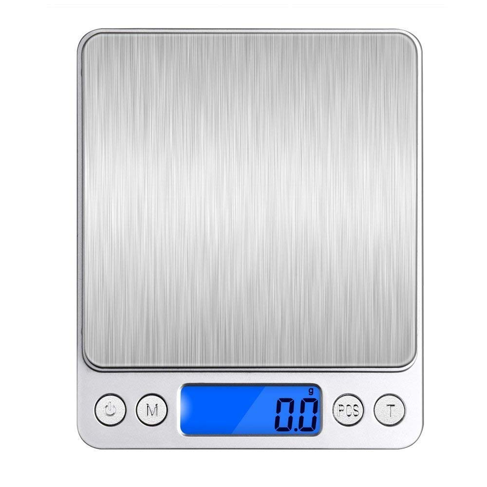 Digital Kitchen Scale, VersionTech Food Weighting Scale with Stainless Steel Platform, Tare Function, LCD Display, High Precision up to 0.1g (3kg Maximum Weight), Battery Included FS003