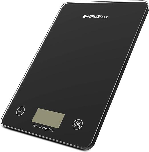 SIMPLETASTE Báscula Digital de Cocina, 5kg / 11lbs, Balanza ...
