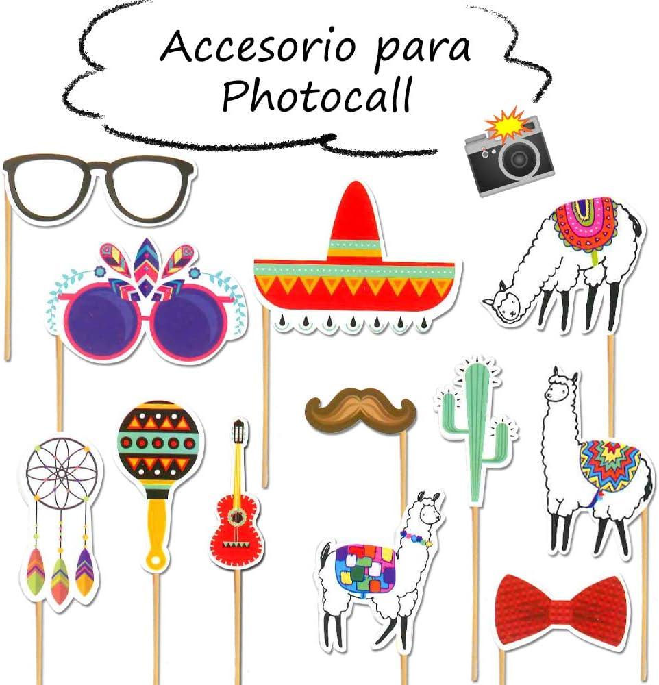 Starplast Accesorios para Photocall, Camera Props, 12 Piezas, para Bodas, Cumpleaños, Fiestas, etc. Diseño Fiesta Mexicana: Amazon.es: Hogar