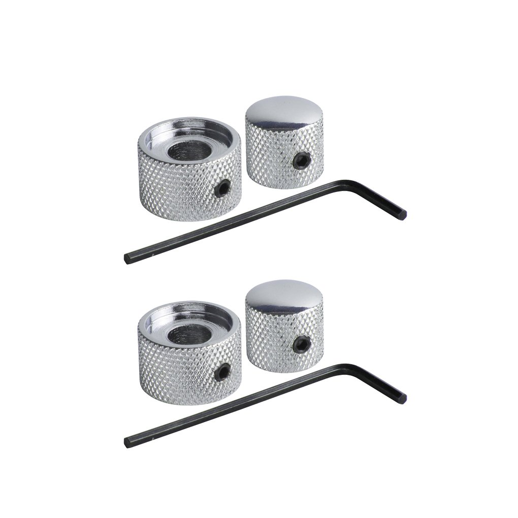 Pack of 2 FLEOR Chrome Dual Concentric Dome Knob Volume Tone Blend Control Bass Guitar 2 IN 1 Parts