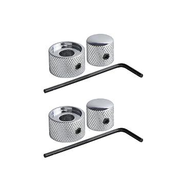 FLEOR Metal cromado 2 en 1 Doble concéntricos tono potenciómetro de volumen Perilla de velocidad W
