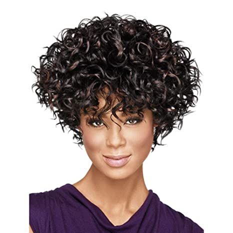 Amazon Com Wig Short Curly Hair Female Dyed Small Volume