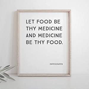 BYRON HOYLE Let Food Be Thy Medicine Framed Wood Sign, Wooden Wall Hanging Art, Inspirational Farmhouse Wall Plaque, Rustic Home Decor for Nursery, Porch, Gallery Wall, Housewarming
