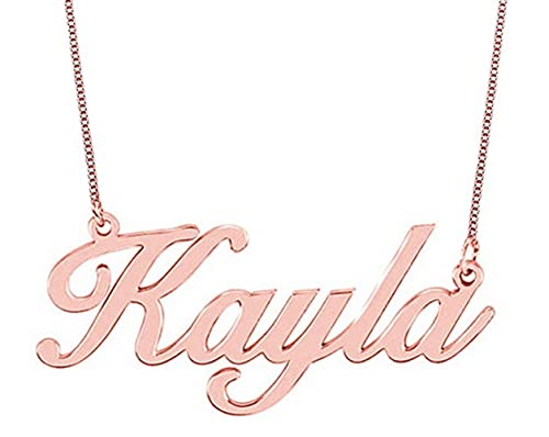 vendita calda online 84bf3 f2242 Hacool Oro rosa 18 carati placcato argento Collana con nome su ordine con  qualsiasi nome