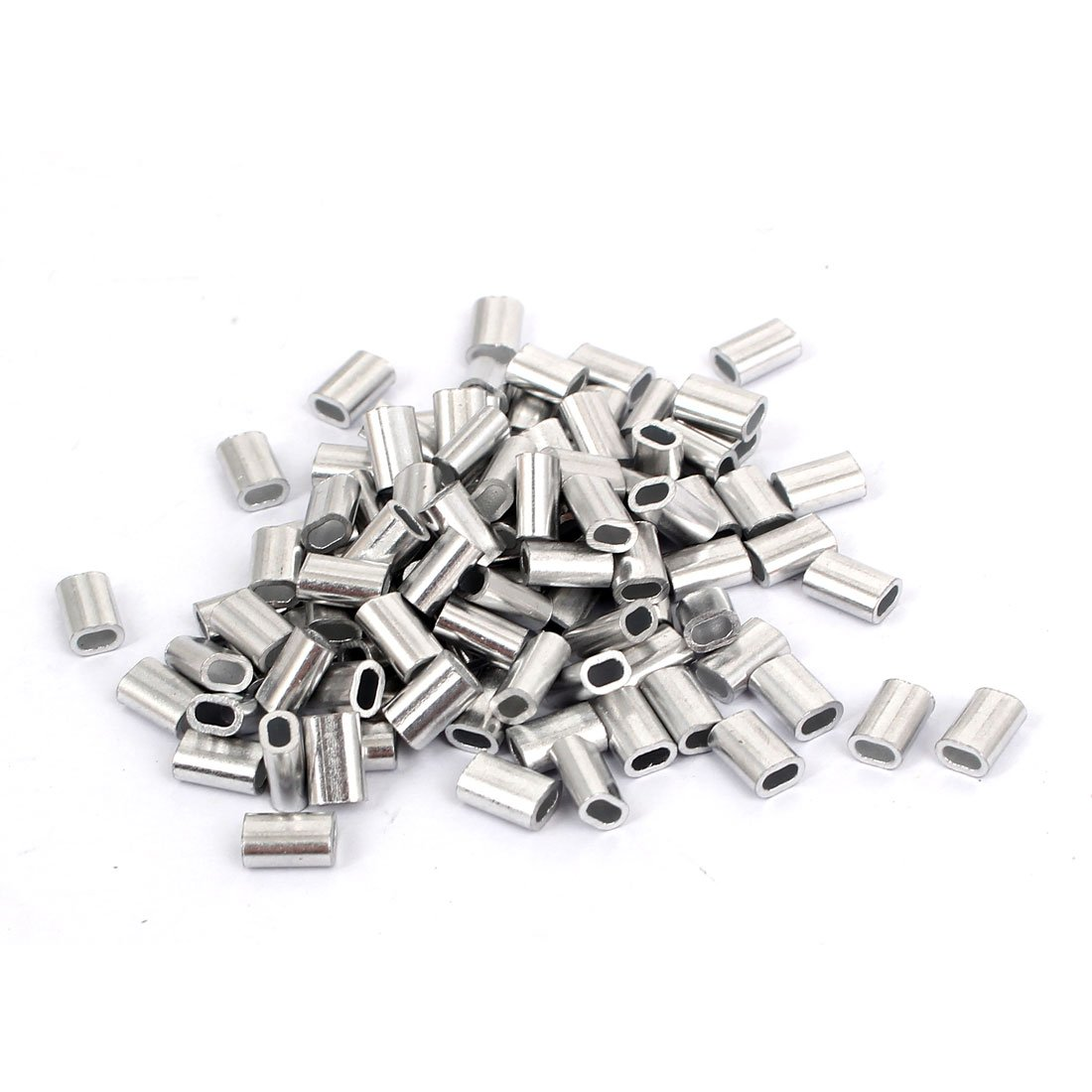 sourcingmap/® M1.5 fil Aluminium Acier raccords /à embouts Manchons /à sertir le c/âble de boucle 100 pcs