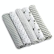 Enovoe Baby Burp Cloth for Boys and Girls (5 Pack) - 21  x 10  - 100% GOTS Certified Organic Cotton, Extremely Absorbent, Soft and Durable Burping Cloths Rags, Perfect for Babies Drool and Spit Ups