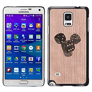 // MECELL CITY PRESENT // Cool Funda Cubierta Madera de cereza Duro PC Teléfono Estuche / Hard Case for Samsung Galaxy Note 4 /// Dice Gambling Luck Deep Meaning ///