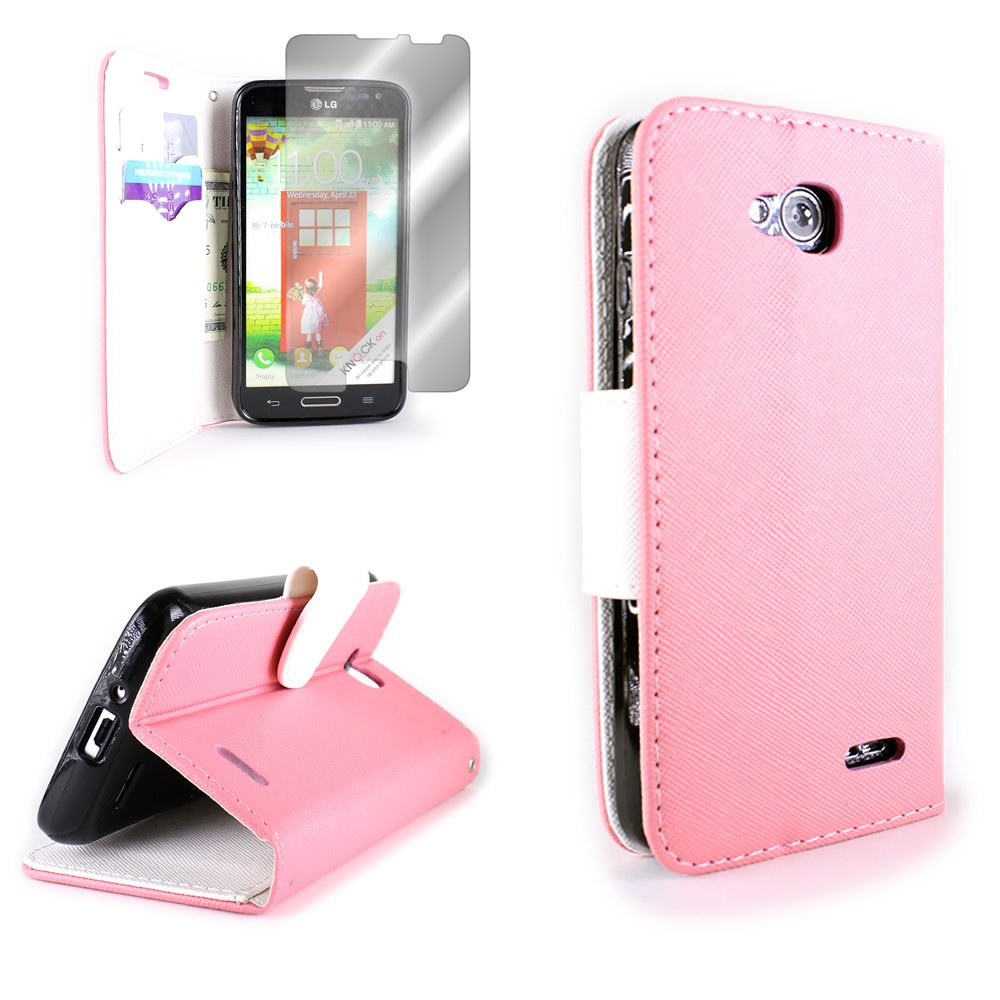 LG Optimus L90 Wallet Phone Case and Screen Protector | CoverON (CarryAll) Pouch Series | Tough Textured Exterior (Light Pink / White) Flip Stand Cover with Credit Card and Cash Holder Slots for LG Optimus L90 D415