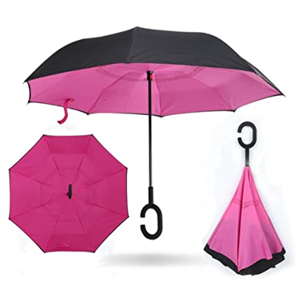 KAYI paraguas reversible de doble capa a prueba de viento UV protección C manejar paraguas plegable