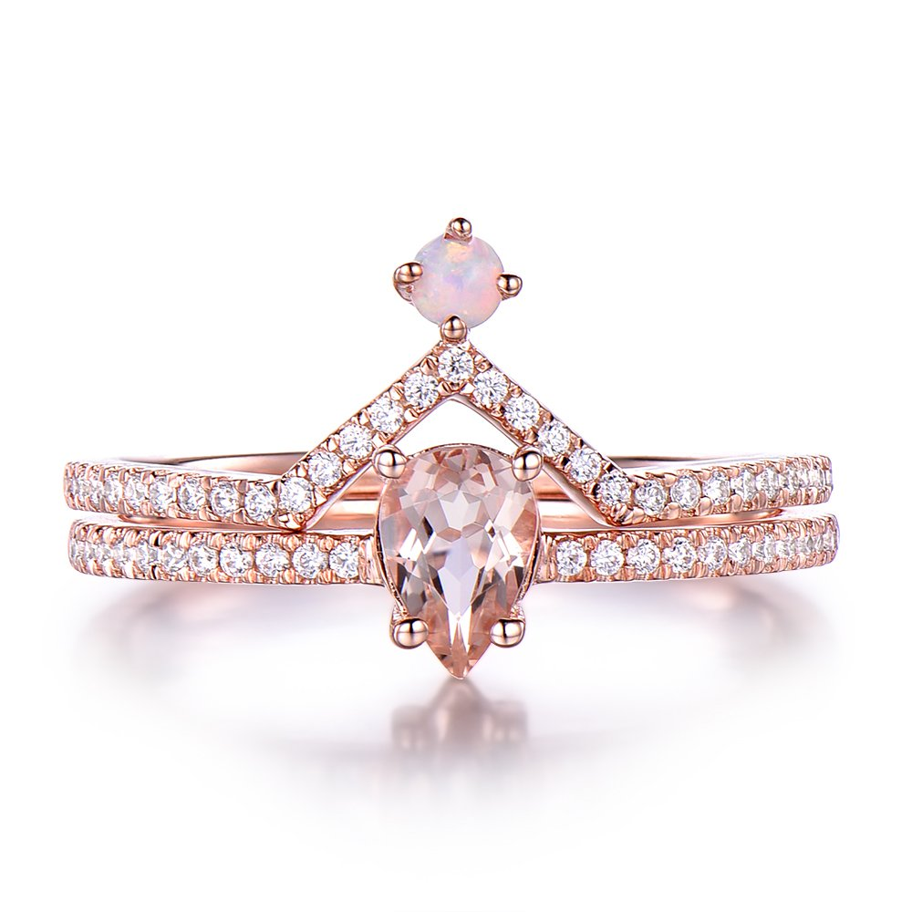 Morganite Opal Engagement Ring Set CZ Diamond 925 Sterling Silver White Gold Matching Band Bridal Pear