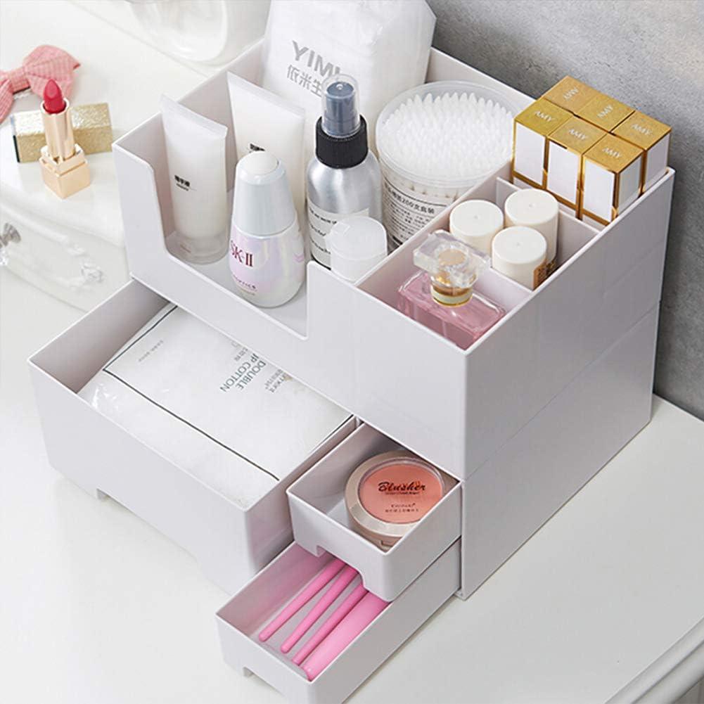 Estante para colgar, caja de almacenamiento de cosméticos, banco de plástico, caja de acabados, caja de máscaras, productos para el cuidado de la piel, estante para pintalabios, Color, Blanco