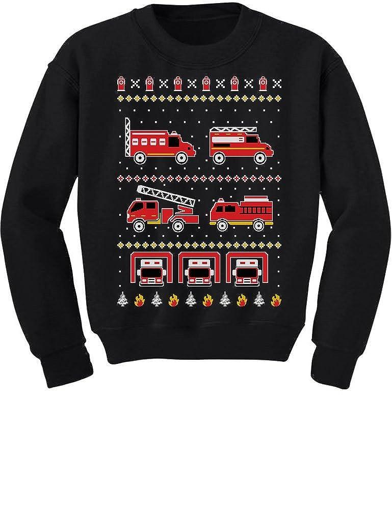 TeeStars - Firetrucks Firemen Ugly Christmas Sweater Toddler/Kids Sweatshirt 5/6 Black GMPl0ragf5Plf59M/Z