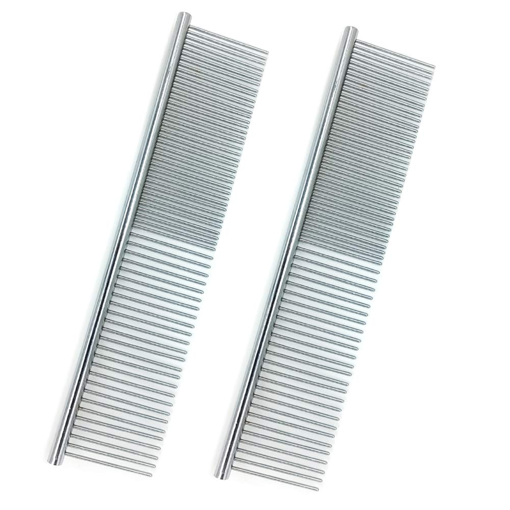 2 Pack Pet Stainless Steel Bone Comb, Dog Cat Beauty Comb Tool