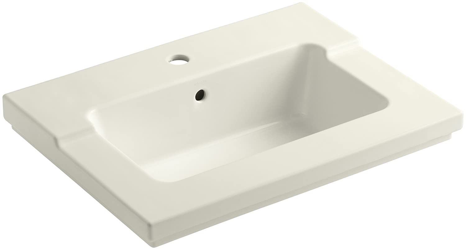 KOHLER K-2979-1-96 Tresham One-Piece Surface and Integrated Bathroom Sink with Single-Hole Faucet Drilling Biscuit