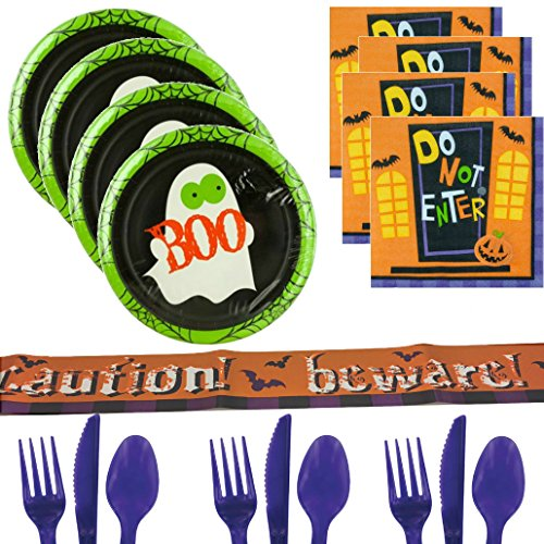 Boo! Halloween Party Supplies For 16 - Ghost Plates, Do Not Enter Napkins, Halloween Banner Tape, Purple Cutlery - Pumpkins, Monsters & Trick or Treat Party Pack - Boys, Girls, (People Halloween Party)