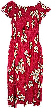Womens Red Plumeria Luau Cruise Hawaiian Sundress