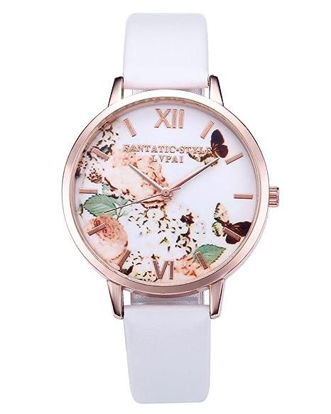 799548fd35 JSDDE Uhren, Damen Armbanduhr Schmetterling Blumen Muster Analoge Uhr  Basel-Stil Lederband Quarzuhr Kleideruhr