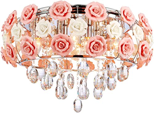 LUOLAX Romantic Ceramic Rose Flower Chandelier Modern Crystal Pendant Lamp Flush Mount Hanging Ceiling Fixture