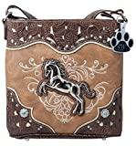HW Collection Western Horse Equestrian Concealed Carry Crossbody Handbag Messenger Purse (Tan)