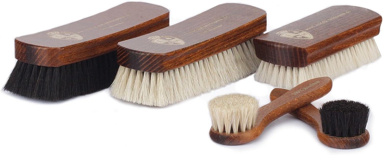 Langer & Messmer Set de 5 cepillos con cerdas de crin de caballo y pelos de cabra, para la limpieza y el cuidado del calazado de piel de cuero liso