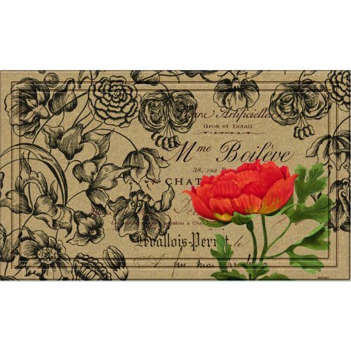 Naturelles Vintage Floral Peony Door Mat, 18-Inch by 30-Inch ()