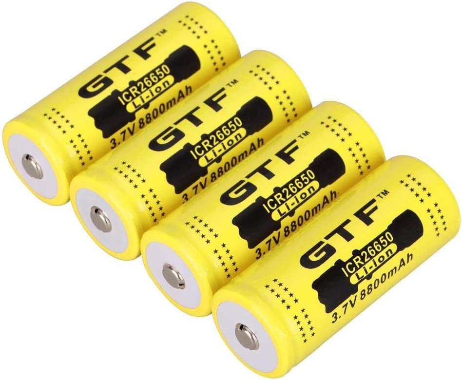 3.7V 8800mAh 26650 Rechargeable Lithium ion Battery for Flashlight Lithium ion battery-6Pcs 4pcs