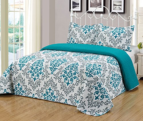 MarCielo 3 Piece Quilted Bedspread, Printed Quilt, Quilt Set Bedding Throw Blanket Coverlet Oversize Lightweight Bedspread Ensemble, Turquoise Teal, King Size, Katrina Blue (Sunrise Springs Water)