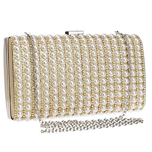 Mini Pearl Dinner Crossbody Banquet Gold Bag Evening Clutch for Purse Female's Bag Handbag Shoulder Party B0Bqr