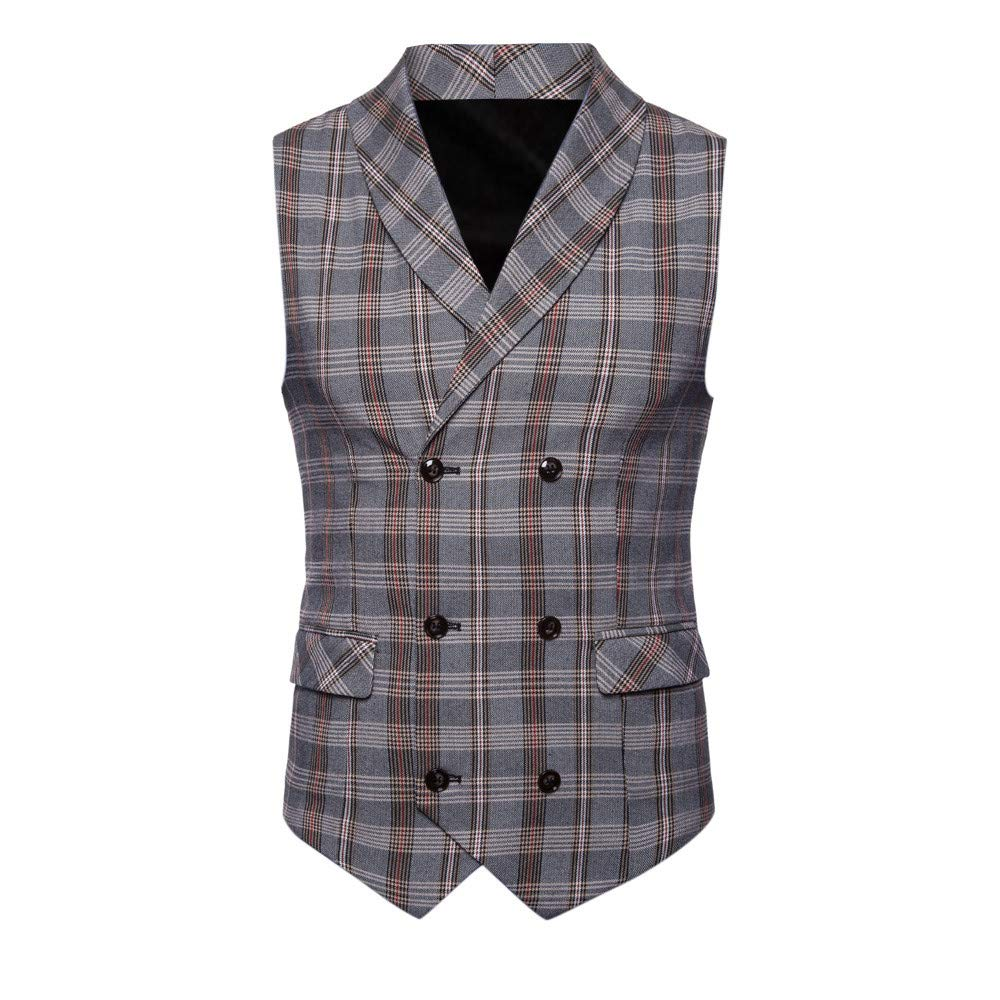 SMALLE ◕‿◕ Clearance,Men Plaid Button Casual Printed Sleeveless Jacket Coat British Suit Vest Blouse by SMALLE