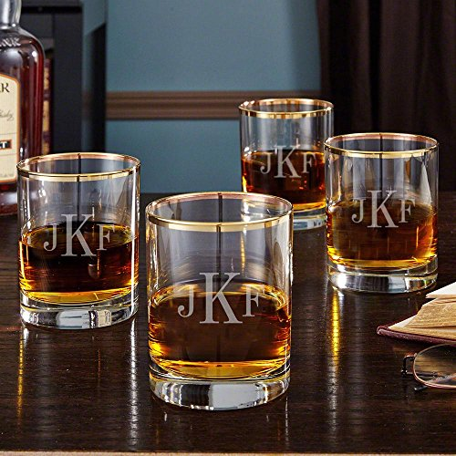 Classic Monogram Gold Rim Whiskey Glasses, Set of 4 (Personalized Product)