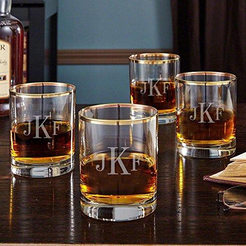 Classic Rim - Classic Monogram Gold Rim Whiskey Glasses, Set of 4 (Personalized Product)