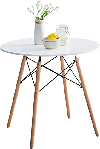 Liink1Ga White Dining Table 31.5'' Small,Round,Modern Dining Room Table