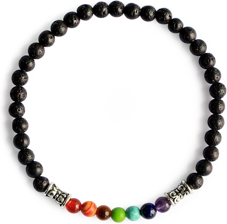 Me&Hz Lava Rock 7 Chakra Beads Healing Bracelets Yoga Meditation Prayer 4mm Stretch Bracelet for Women