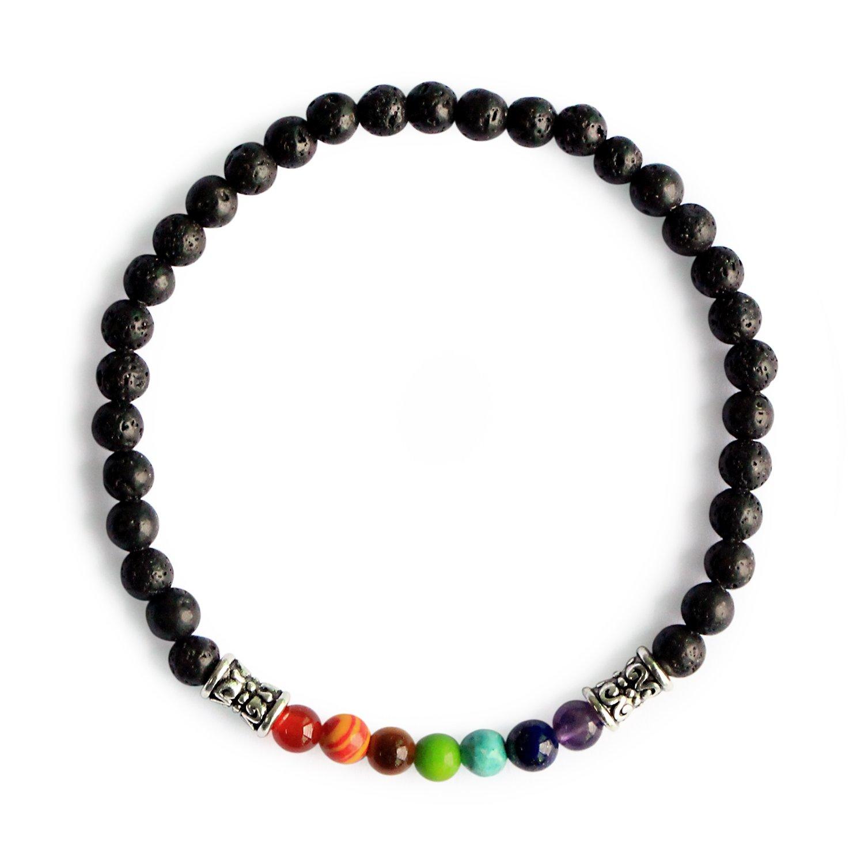 Me&Hz Black Lava Stone 7 Chakra Mala Beads Bracelet Stretchy Healing Energy Yoga Bracelets for Women Girls