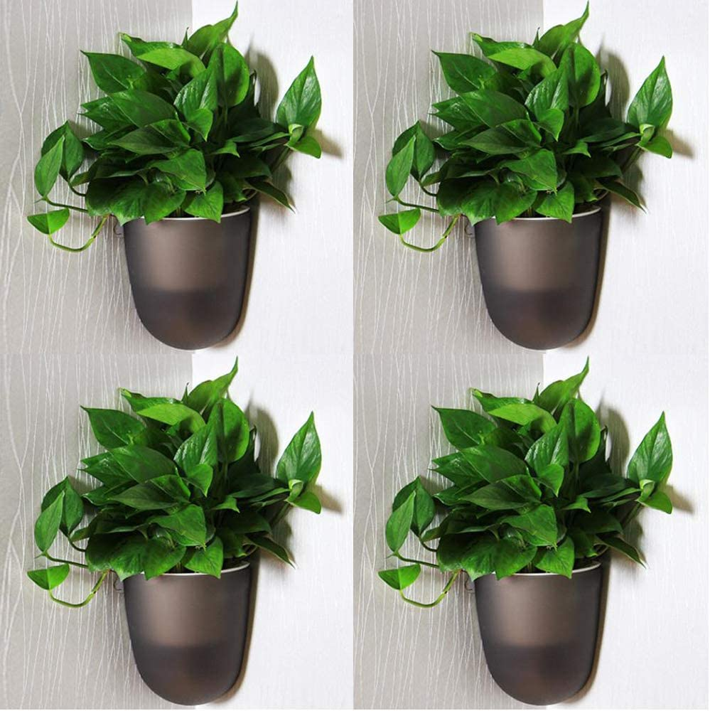 Sungmor Corner Planter Wall Mounted Plant Pots - Self Watering Vertical Hanging Planters - 4PC Black Pack - Right Angle Flower Pots Plant Containers - Great Home Office Kitchen Wall Corner Decor Pots