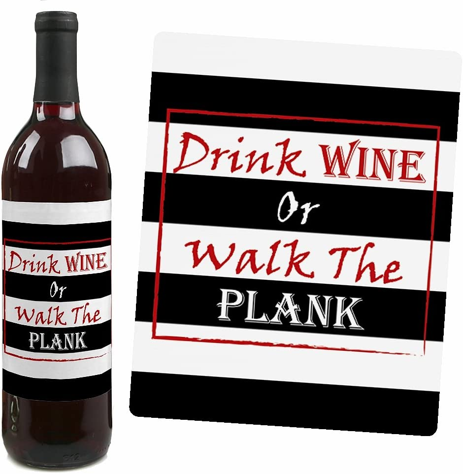 Wine Bottle Label Stickers Pirate Birthday Party Party Decorations for Women and Men Set of 4 Beware of Pirates