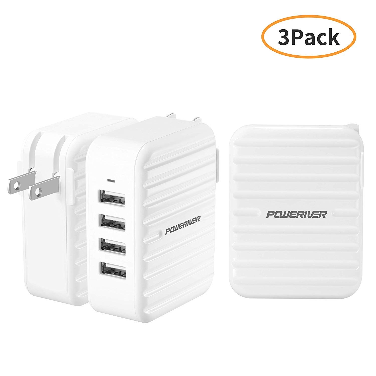 3 Pack USB Wall Charger, POWERIVER Charging Station, 4 Port Travel Wall Charger with SmartID Technology Foldable Plug for iPhone iPad, Samsung Galaxy, HTC