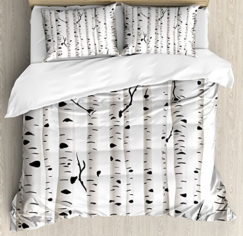 Ambesonne Birch Tree Duvet Cover Set King Size, Forest Seasonal Nature Woodland Leafless Branches Grove Botany Illustration, Decorative 3 Piece Bedding Set with 2 Pillow Shams, Black and White (Duvet Tree Birch)