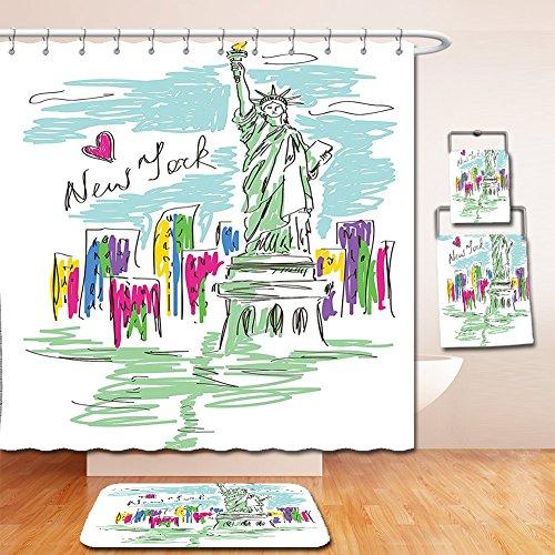 Nalahome Bath Suit: Showercurtain Bathrug Bathtowel Handtowel City Decor Cosmopolitan New York City Landmarks Statue of Liberty Sketchy Hand Drawn Image Multicolor Cosmopolitan Cotton Shower Curtain