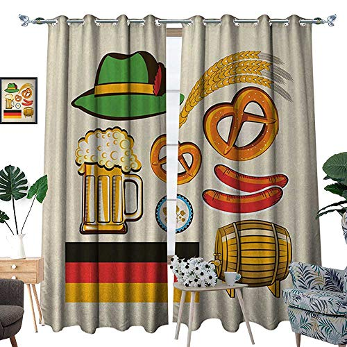 German Room Darkening Wide Curtains Oktoberfest Symbols Wheat Sausage Beer and Pretzels Colorful Bavarian Arrangement Decor Curt