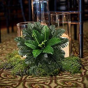 HO2NLE 2PCS Artificial Boston Ferns Shrubs Silk Fake Greenery Plants Home Garden Wedding Patio Outdoor Balcony Hanging Pot Decor 5