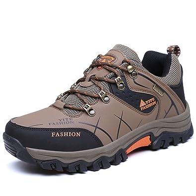 LILY999 Herren Trekking Wanderschuhe Warm Halten Wasserdicht Gleitsicher Stiefel Lässige Sportschuhe(39 EU,Braun)