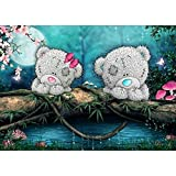 5D Diamond Painting Kit, DIY Rhinestone Embroidery Cross Stitch Arts Craft for Home Wall Decor Patch Bear On The River 11.8*15.7 inch